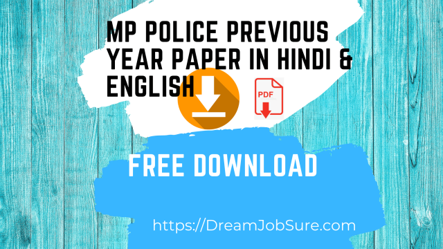 MP Police Previous Year Paper in Hindi & English