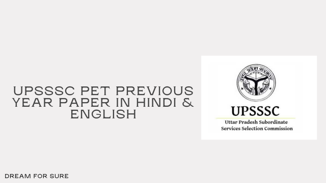 UPSSSC PET questionnaire in Hindi