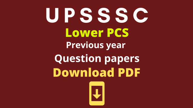 UPSSSC Lower PCS Previous Year Question Paper